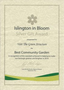 Silver Gilt award certificate from Islington in Bloom for Vert, the wildlife friendly sculpture in 2016